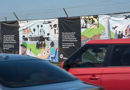 Temporary artwork banners along Florence Avenue.