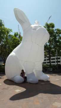 Me crouched under the bunny for scale.
