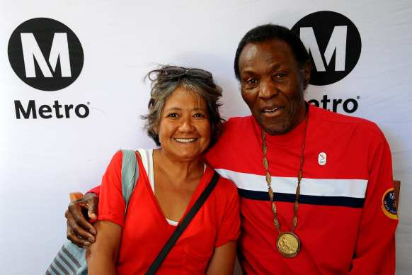 Rafer Johnson, who won a Gold Medal in the decathlon at the 1960 Rome Games -- appeared at Chatsworth Station on Monday. Photos by Gary Leonard for Metro.