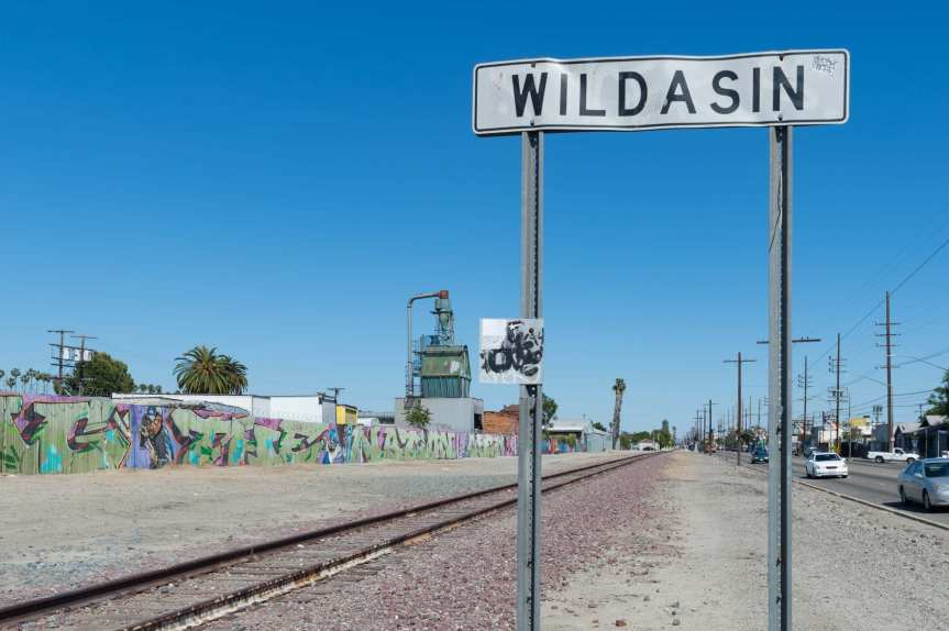 The old tracks along Slauson Avenue between Normandie and Vermont in South L.A.