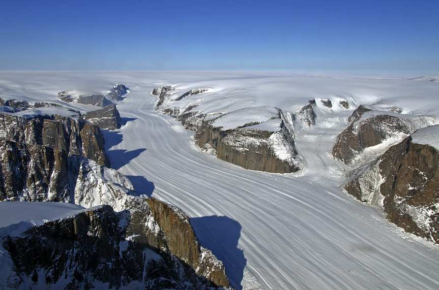Penny Ice Cap outlet glacier on Baffin Island. Photo: Jet Propulsion Laboratory/NASA.