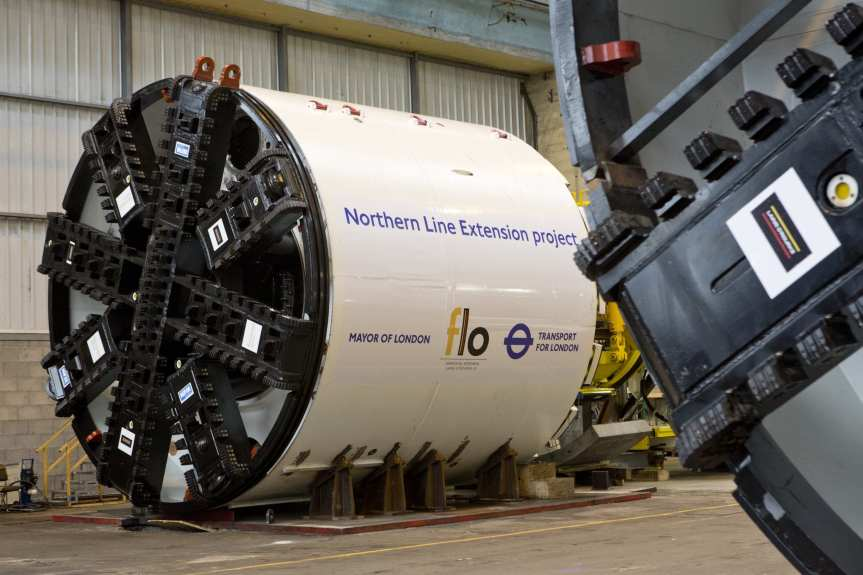 The cutter head for a tunnel boring machine in London. Photo: Transport for London.