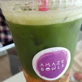 Matcha fruit drink.