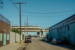 The A Line (Blue) near Slauson Avenue in South L.A. Photo by Steve Hymon/Metro.