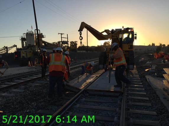 Setting panels at the Cedar Grade crossing.