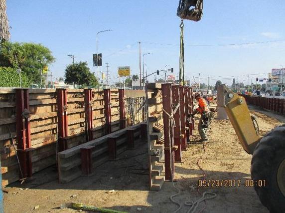 Installation of ballast wall formwork at 48th Street.