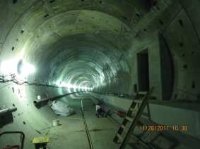 The southbound rail tunnel under Crenshaw Boulevard on the northern part of the project.