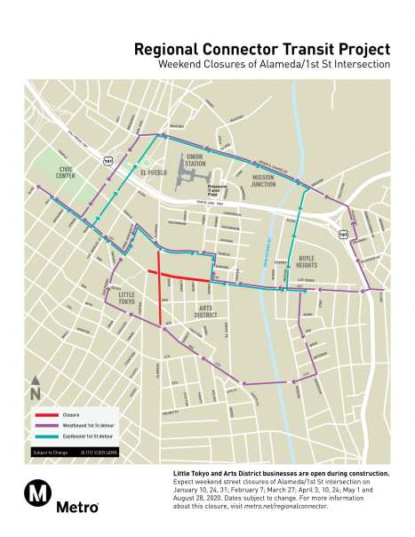 Detours for street closures at the 1st St/Alameda St in downtown LA.