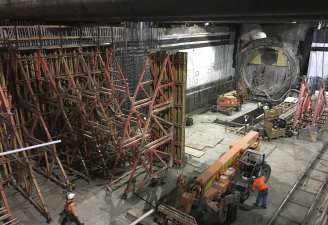 Work at Wilshire/La Brea Station last month.