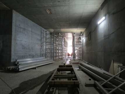 A view from inside the wye junction guideway, looking west towards the station portal.