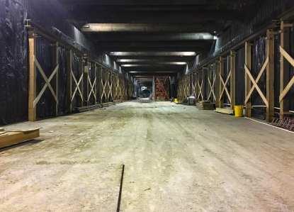 Construction progress inside Wilshire/Fairfax Station.
