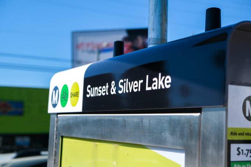 Top of Metro Bike Share station kiosk reading Sunset & Silver Lake