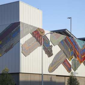 The completed artwork viewed from South Santa Fe Avenue.