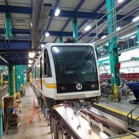 P2000 rail car at maintenance facility.