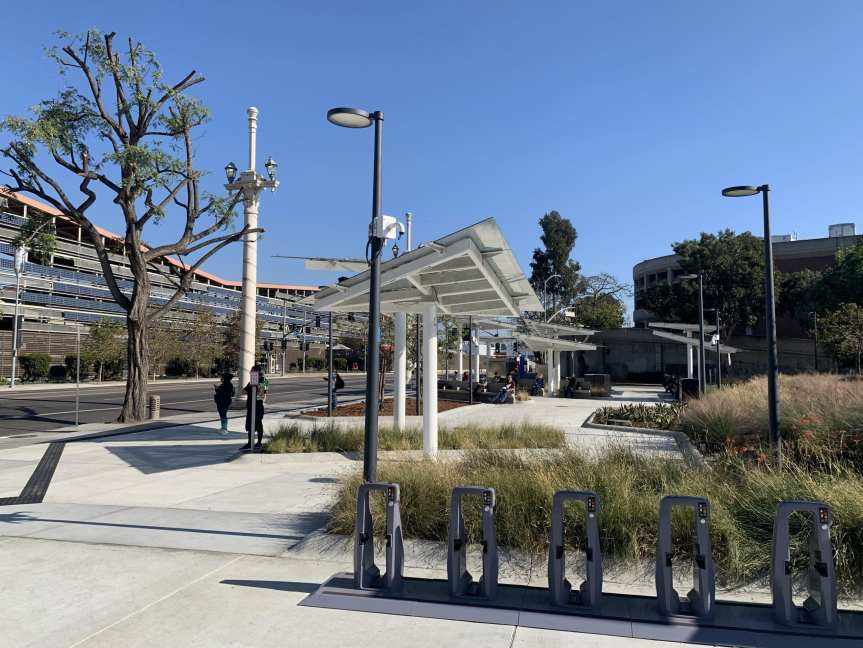 Cesar Chavez Transit Pavilion with shade canopies and landscaping