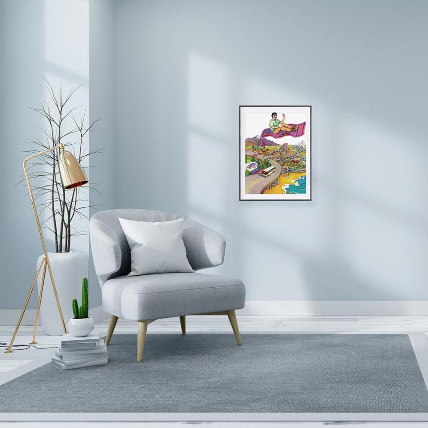 staged room with brushed gold standing lamp and light gray arm chair, grey rug and pale gray wall displaying framed RTD pleasure fare poster