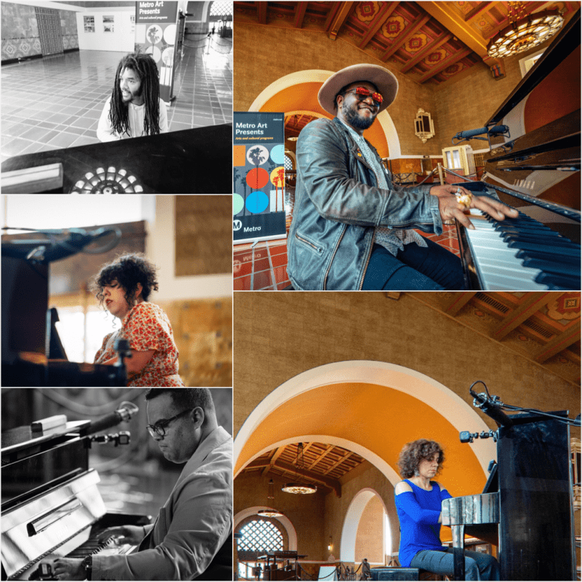 Pianists Jamael Dean, Brandon Coleman, Inna Faliks, Jonathan Montes, and Donia Jarrar, clockwise from top left, performing in the Union Station Waiting Room in June