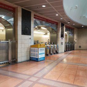 Ballot drop-off box at Mariachi Plaza Station.