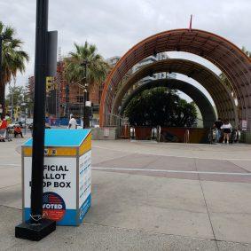 Ballot drop-off box at North Hollywood Station.