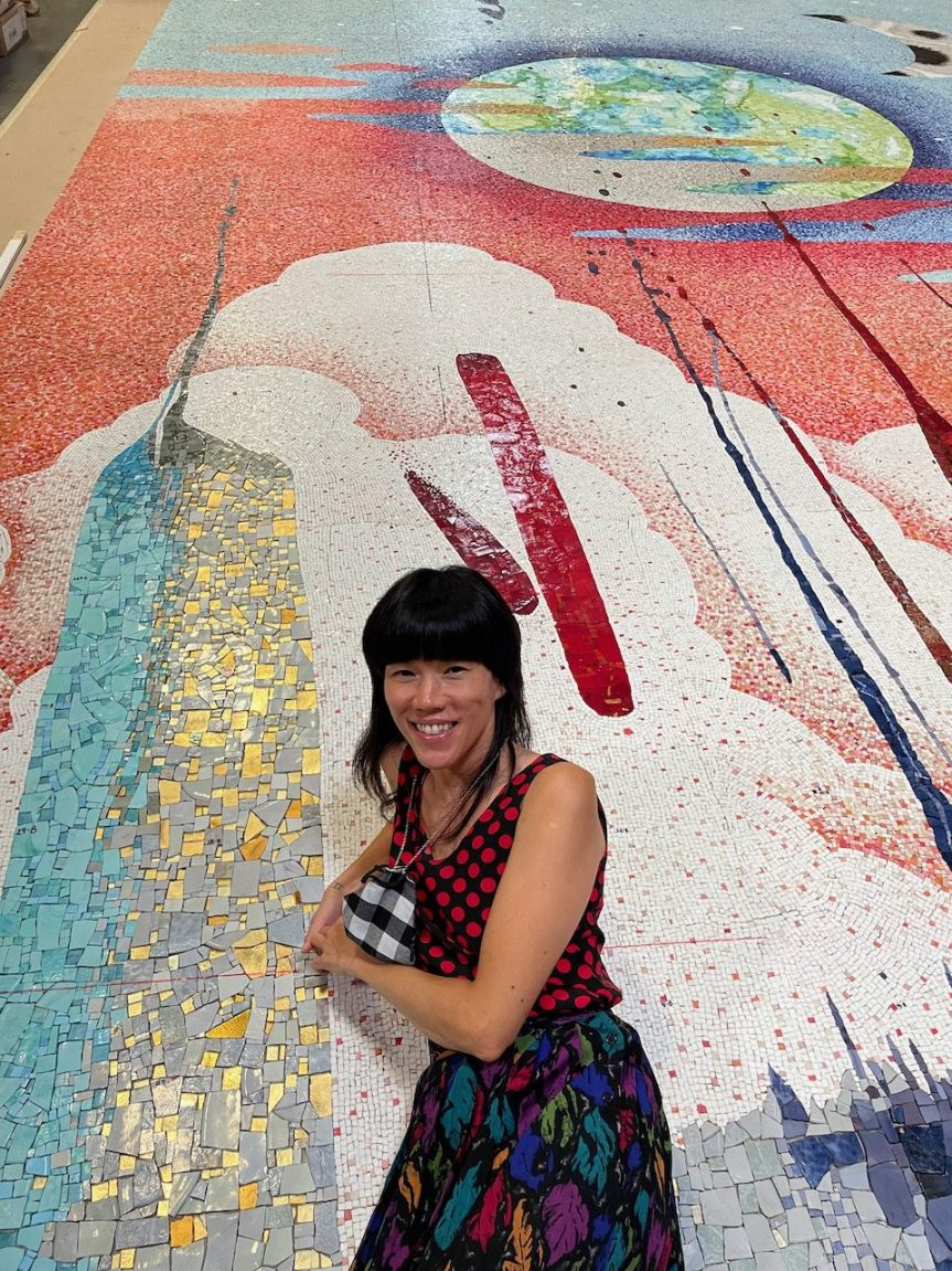 Pearl C. Hsiung with the final mosaic translation of her original artwork after fabrication reviews from a distance during the pandemic.
