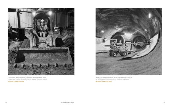 The cover and a spread from the exhibition catalog.