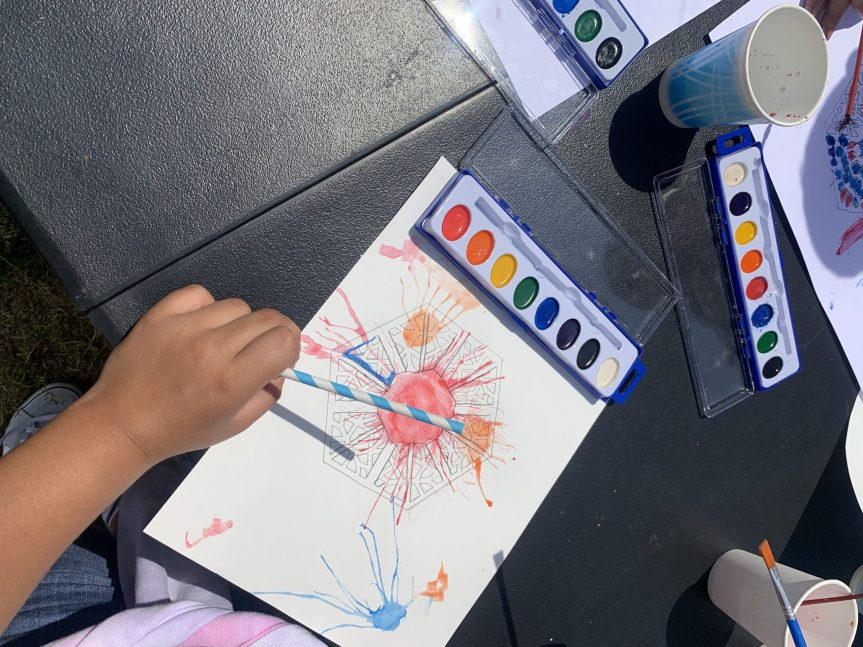 Students play with new art techniques for a Sherin Guirguis x Free Arts workshop.