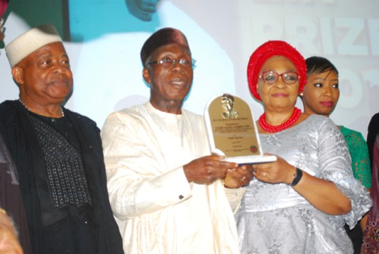 Chief Ken Nnamai,chief Audu Ogbeh and his wife receiving Award