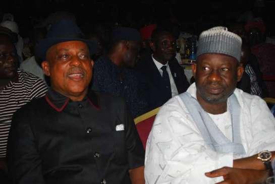 Prince Uche Secondus,PDP, Chairman and Ibrahim Dankwanbo,governor of Gombe state