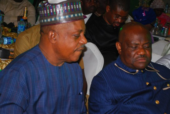 Uche Secondus,chairman,PDP,and Nyesom Wike,governor of River state