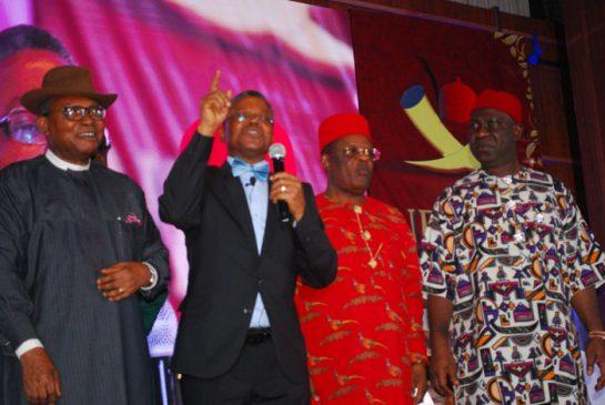Prof. AnyaO.Anya,Major Gen.Obi Abel Umahi,Eng.David Umahi and Sen. Ike Ekweremadu