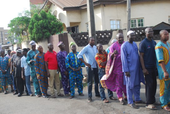 Cross-section of voters queuing for accreditation and voting