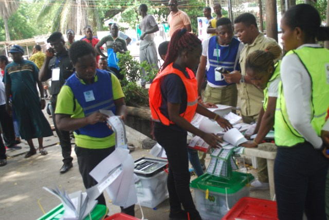 IINEC officials collating and counting vote
