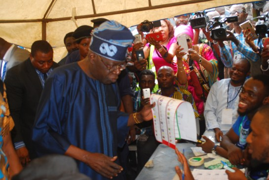 Senator Bola Tinubu at his polling booth in Alausa Ikeja