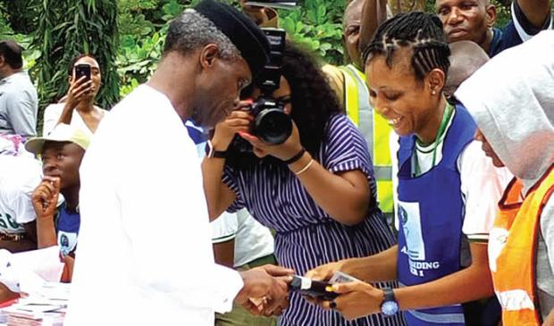 Vice President, Yemi Osibajo during accreditation at his polling unit 033