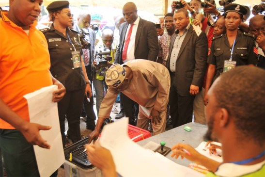 Asiwaju Bola Tinubu casting his vote at Alausa, Ikeja