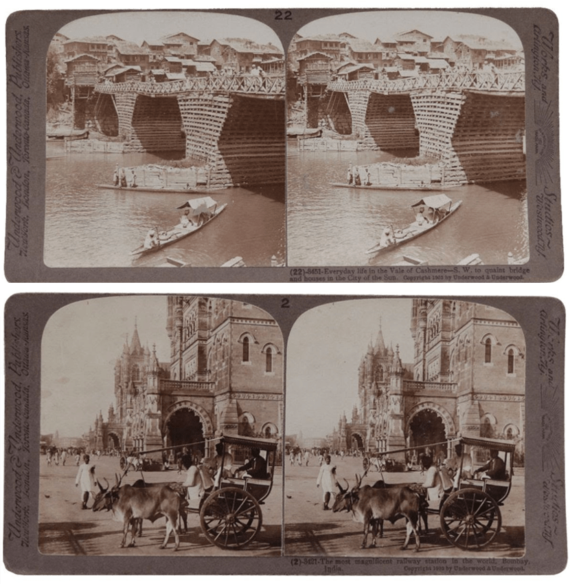 Stereoscope, 1901 and Stereographs, India, 1903.