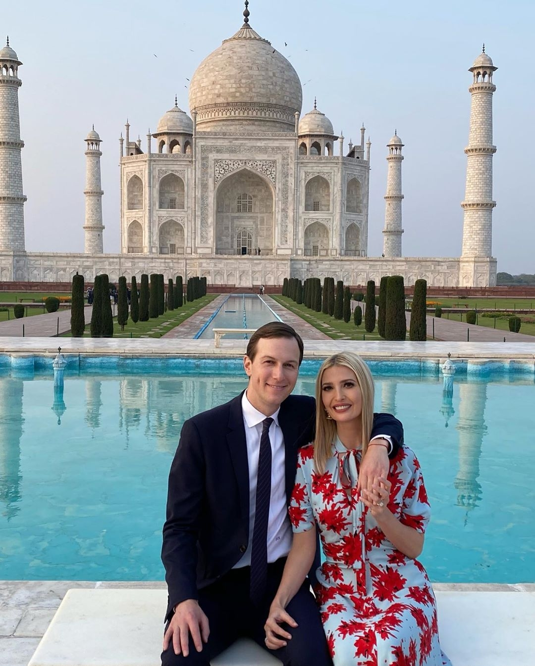 It was love in the air as Ivanka Trump, in a Proenza Schouler floral printed dress, took a stroll at the Taj Mahal with her husband Jared Kushner on Monday.