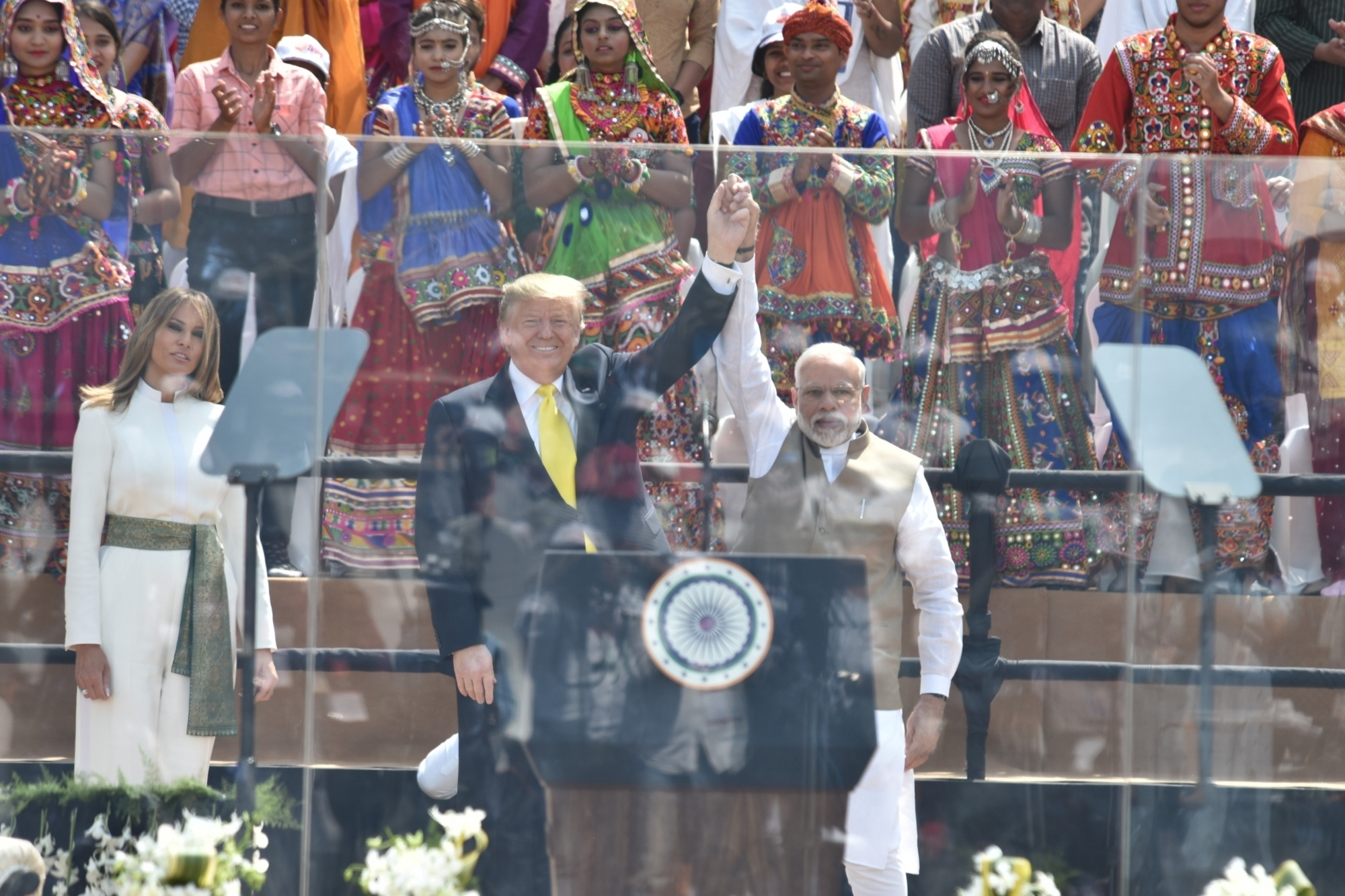 Ahmedabad: Prime Minister Narendra Modi and US President Donald Trump during 'Namste Trump' mega event at Motera cricket stadium in Ahmedabad on Feb 24, 2020. (Photo: IANS/PIB)