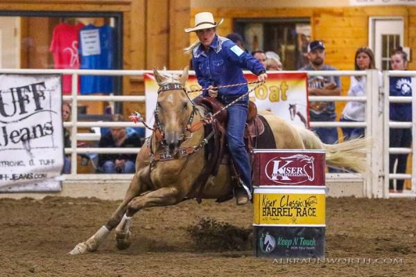 The South Dakota Cowgirl Jenn Zeller barrel racing on Avie in Minnesota.