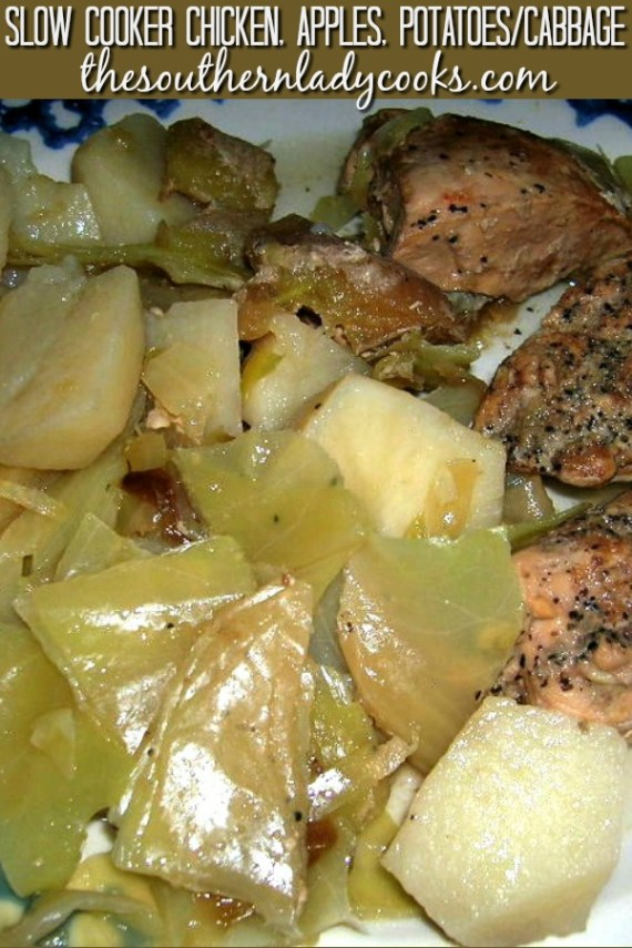Slow Cooker Chicken Apples Potatoes/Cabbage
