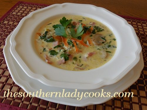 Ham, Spinach and Rice Soup-TSLC