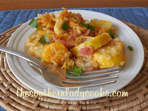 Cheesy Bacon Yellow Squash Casserole - TSLC