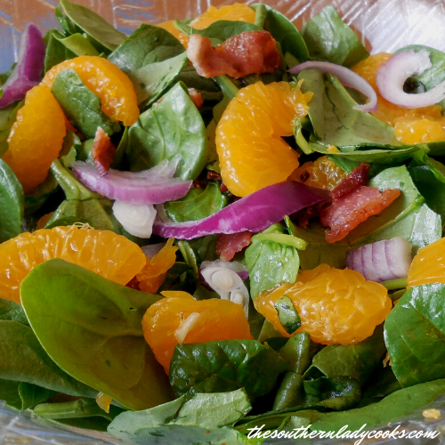 Bacon and Mandarin Orange Spinach Salad-The Southern Lady Cooks