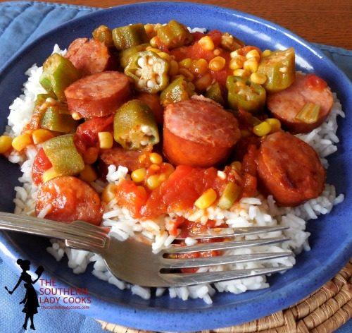 Smoked sausage, Tomatoes and Okra Skillet