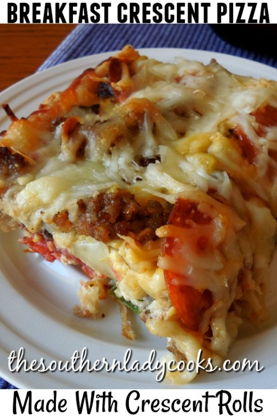 Breakfast Crescent Pizza -The Southern Lady Cooks