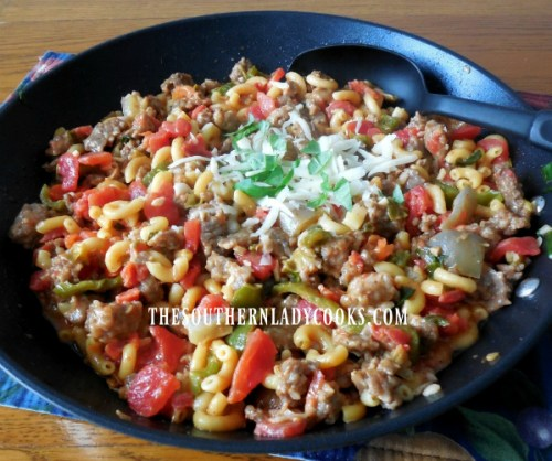 Green Pepper Recipes Cheesy Tomato Italian Sausage Skillet The Southern Lady Cooks