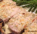 CHEESY RANCH PORK CHOPS AND POTATOES WITH GARLIC ASPARAGUS