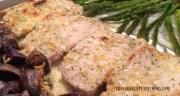 CHEESY RANCH PORK CHOPS AND POTATOES WITH GARLIC ASPARAGUS