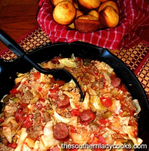 Cajun Cabbage Jambalaya-The Southern Lady Cooks