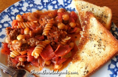 Italian Sausage Pepperoni Skillet